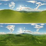 Panoramic of green hills landscape Royalty Free Stock Photography