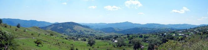Panoramic green mountain landscape Stock Photo