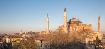 Panoramic Hagia Sophia cathedral at dusk Royalty Free Stock Photo