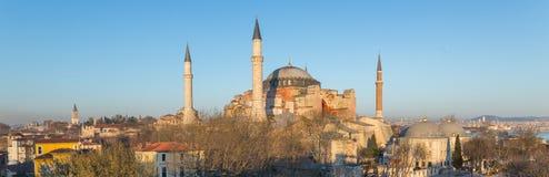 Panoramic Hagia Sophia cathedral at dusk Royalty Free Stock Photos