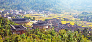 The panoramic of Hakka earth building Stock Photo