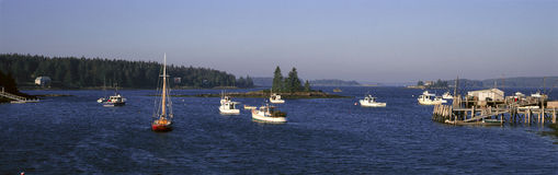 Panoramic harbor view of Lobster Village on Mount Desert Island in Stonington, ME Stock Photography