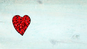 Panoramic with heart made up of little heart-shaped candies Royalty Free Stock Photos