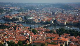 Panoramic high point cityscape view of Prague old city red roofs, Czech Republic royalty free stock photo