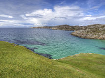 Panoramic highland scotland beach. Green sea Stock Photos