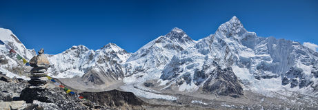 Panoramic Himalaya landscape. Views of Everest peaks along the Everest Base camp trek in Nepal Royalty Free Stock Image