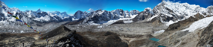 Panoramic Himalaya landscape Royalty Free Stock Photo