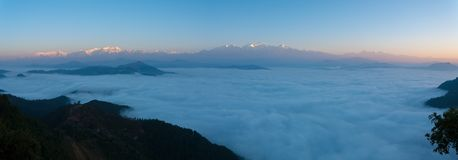 Panoramic Himalayas Sea Of Clouds Morning Sunrise Stock Image