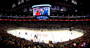 Panoramic Hockey night in Canada Stock Photography