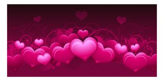 Panoramic horizontal pink abstract Valentines day background Stock Photos
