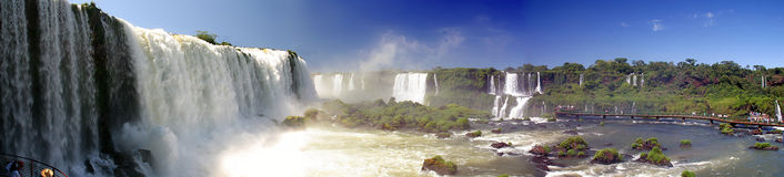 Panoramic iguassu falls Royalty Free Stock Photos