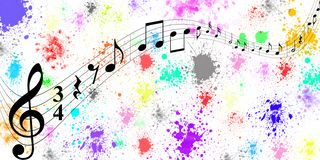 Black Music Notes in Colorful Spatters and Splashes Banner Background. Panoramic illustration of black music notes flowing on curved stave in colorful spatters vector illustration