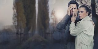 Panoramic image of a beautiful young couple royalty free stock photos