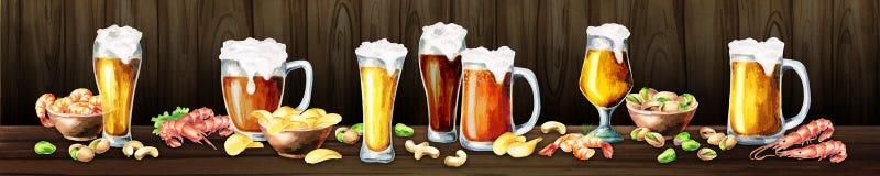 Panoramic image of beer and snacks. Watercolor. Panoramic image of beer and snacks. Can be used for kitchen skinali. Watercolor. Hand-drawn horizontal Stock Photos