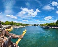 Panoramic image of bridge Pont Alexandre III in Paris Stock Photography