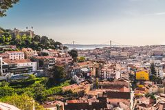 Panoramic image of the city of Lisbon, Portugal. stock image