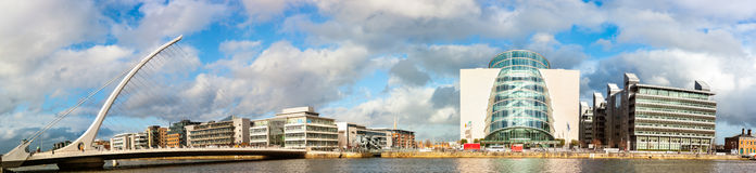 Panoramic image of Convention Centre Dublin CCD and Samuel Bec Stock Photography