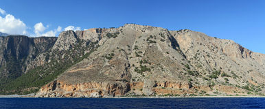 Panoramic image of Crete Greece mountains of Libyan Sea side. Driving with a boat along from Samaria gorge towards Loutro village. made of 5 images Stock Photo