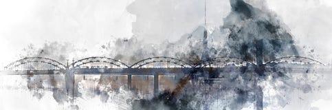 Panoramic image digital watercolor painting of a Railway bridge over the Daugava river. Riga, Latvia stock image