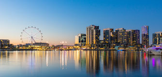 Panoramic image of the docklands waterfront area of Melbourne. At night stock photos