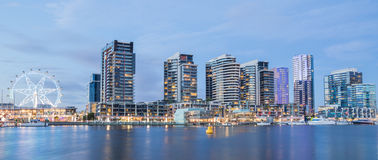 Panoramic image of the Docklands waterfront in Mel. Panoramic image of the Docklands waterfront at night in Melbourne, Australia royalty free stock photos
