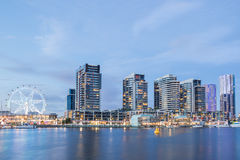 Night time image of the Docklands waterfront. The Docklands waterfront at night in Melbourne, Australia Stock Image