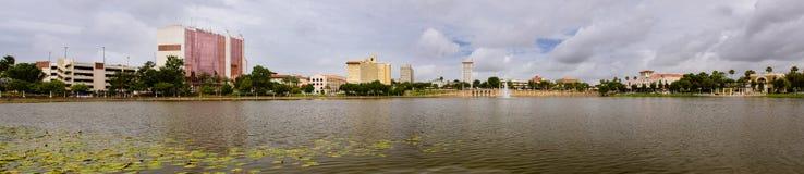 Panoramic image of downtown Lakeland, Florida stock photo