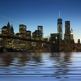 Panoramic image Downtown Manhattan at night Royalty Free Stock Photo