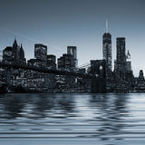 Panoramic image Downtown Manhattan at night Royalty Free Stock Photography