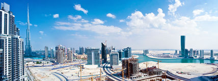 Panoramic image of Dubai city Stock Photos