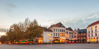 Panoramic image of the Dutch city Deventer. Panoramic evening view of the central square in the historic Dutch city Deventer Stock Photography