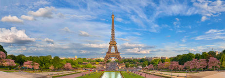 Panoramic image of Eiffel tower from Trocadero in Spring. Paris, France. Panoramic image of Eiffel tower with fantastic clouds taken from fountains of Trocadero Royalty Free Stock Photography