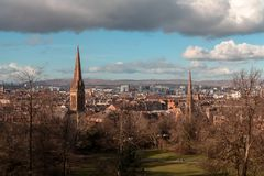 A panoramic image of Glasgow from the South Side stock photography