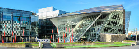 Panoramic image of Grand Canal Square in modern part of Dublin D Royalty Free Stock Image