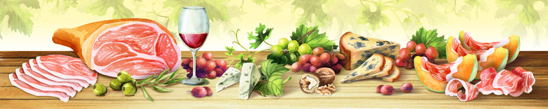 Panoramic image of ham, cheese and wine. Italian dinner. Spanish dinner. Watercolor. Panoramic image of ham, cheese and wine. Italian dinner. Spanish dinner. Can Royalty Free Stock Images