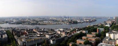Panoramic image of the Hamburg Harbor Stock Photography