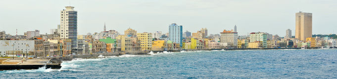 Panoramic image of the Havana skyline. High resolution panoramic image of the Havana skyline Royalty Free Stock Photo