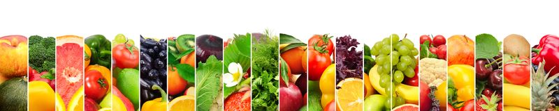 Panoramic image healthy fruits and vegetables in vertical strip Stock Photo