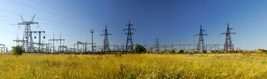Panoramic image of high voltage substation. royalty free stock image