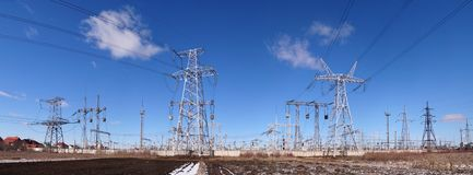 Panoramic image of high voltage substation stock images