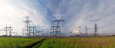 Panoramic image of high voltage substation stock image