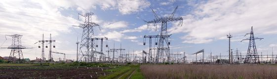Panoramic image of high voltage substation. royalty free stock photography