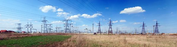 Panoramic image of high voltage substation. stock images
