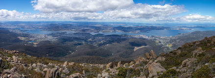 Panoramic image of Hobart in Tasmania. Viewed from the top of Mt Wellington Stock Images
