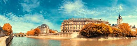 Panoramic image of Ile de la Cite in Autumn. Royalty Free Stock Photos