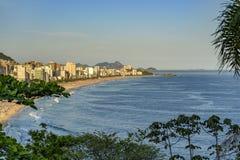 Panoramic image of Ipanema, Leblon and Arpoador beaches. Seen during the sunset of Rio de Janeiro through the vegetation Stock Photos