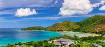 Panoramic image of Island Praslin at Seychelles Royalty Free Stock Photography