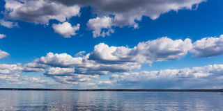 Panoramic image of lake and cloudscapes, blue sky Stock Photo