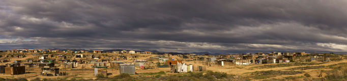 Panoramic image of low cost housing Stock Images