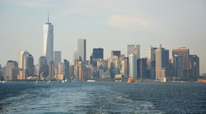 Panoramic image of lower Manhattan skyline Royalty Free Stock Image